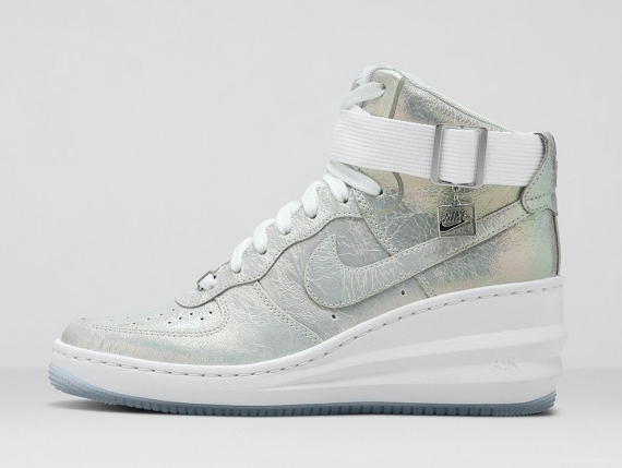 lowest price 23c8d 4046b Nike WMNS Lunar Force 1 Sky Hi PRM Color  White White-Metallic Silver Style  Code  704518-100. Release Date  09 12 14