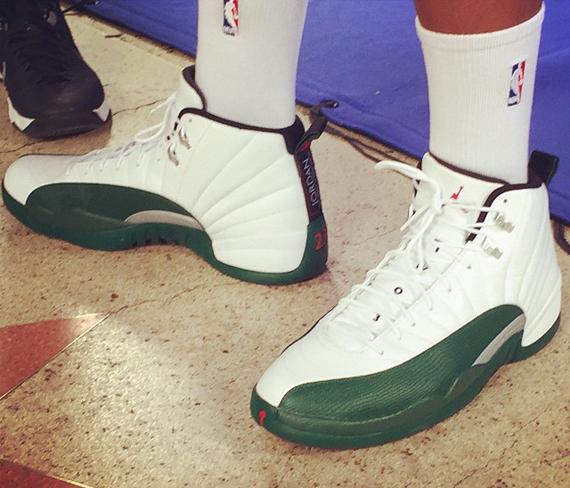 "Jabari Parker's Air Jordan 12 ""Milwaukee Bucks"" PE ... Jabari Parker Shoes"