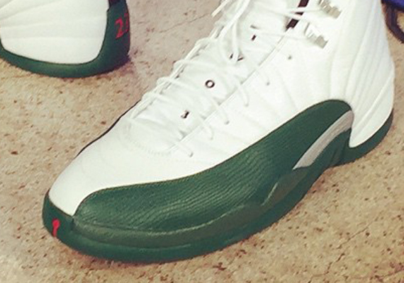 "Jabari Parker's Air Jordan 12 ""Milwaukee Bucks"" PE"