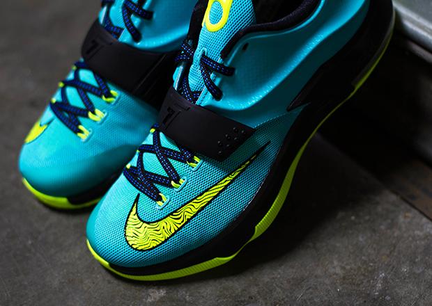 "3536837be5cf Nike KD 7 ""Uprising"" Color  Hyper Jade Black-Photo Blue-Volt Style Code   653996-370. Release Date  10 16 14. Price   150"