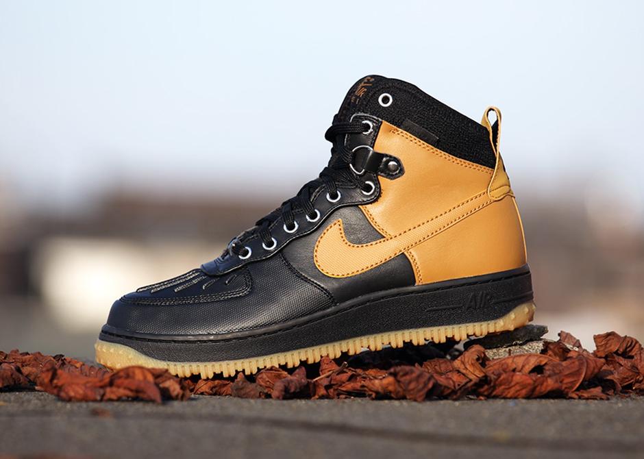 Nike Air Force 1 Duckboot Nero / Marrone Chiaro yVOzXl