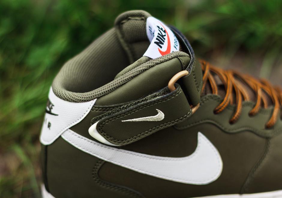 Nike Air Force 1 Mi Moyen Olive Voile Brun Clair Yyxus