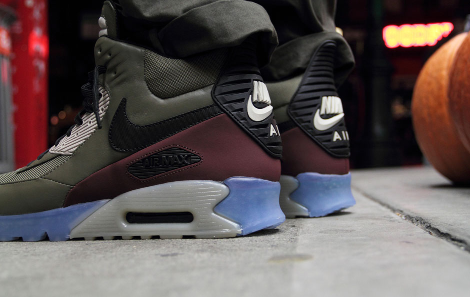 nike air max 90 sneaker boot ice - dark dune / barkroot brown