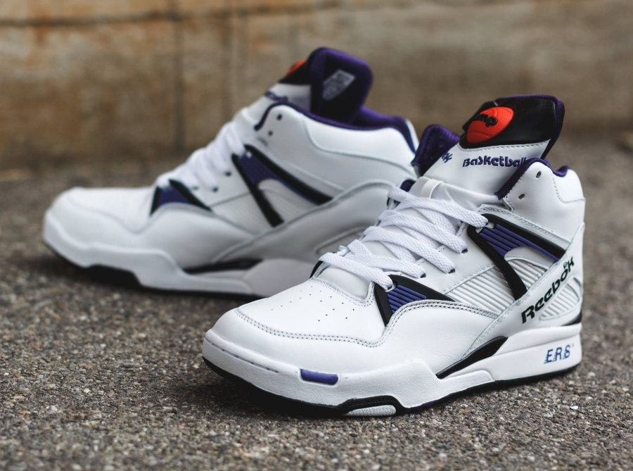 reebok pump omni zone white team purple black. Black Bedroom Furniture Sets. Home Design Ideas