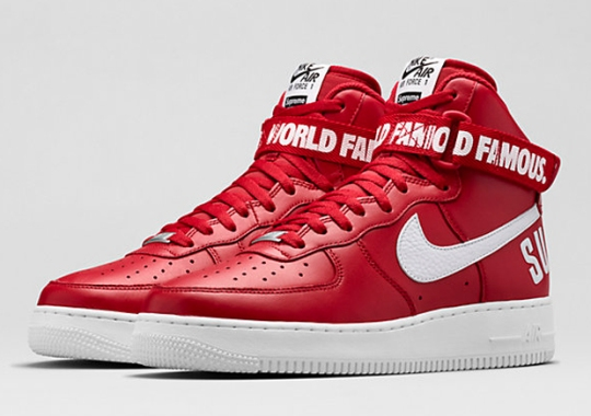 """buy popular ab214 b2a7c Nikestore Releases Supreme x Air Force 1 High """"Red"""""""