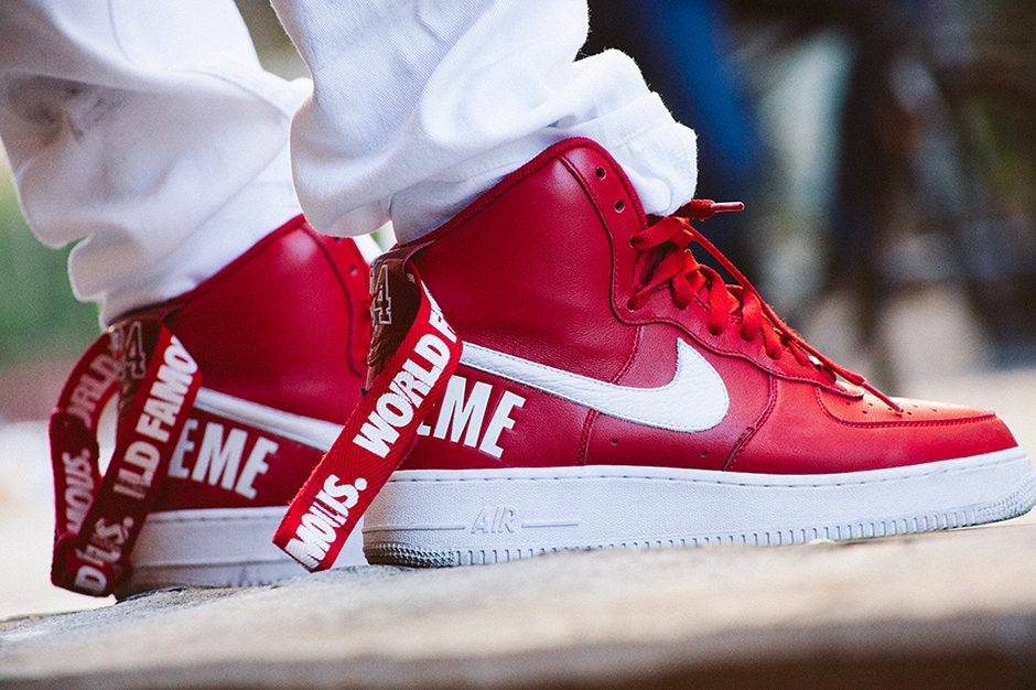 nike air force 1 high x supreme red
