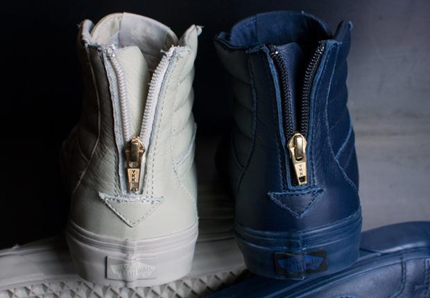 vans sk8 hi leather dress blue