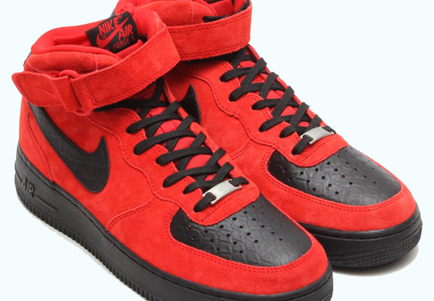 7400a46f82c2 Nike Air Force 1 Mid - Red Suede - Black Python - SneakerNews.com