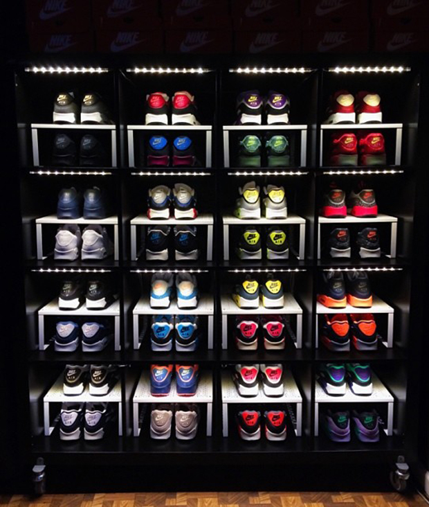 How to make an awesome sneaker storage display with stuff for Sneaker wall display