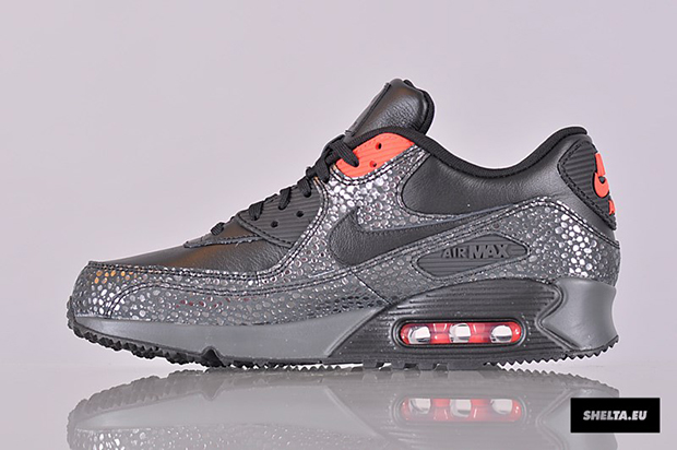 nike air max 90 deluxe black/black/infrared