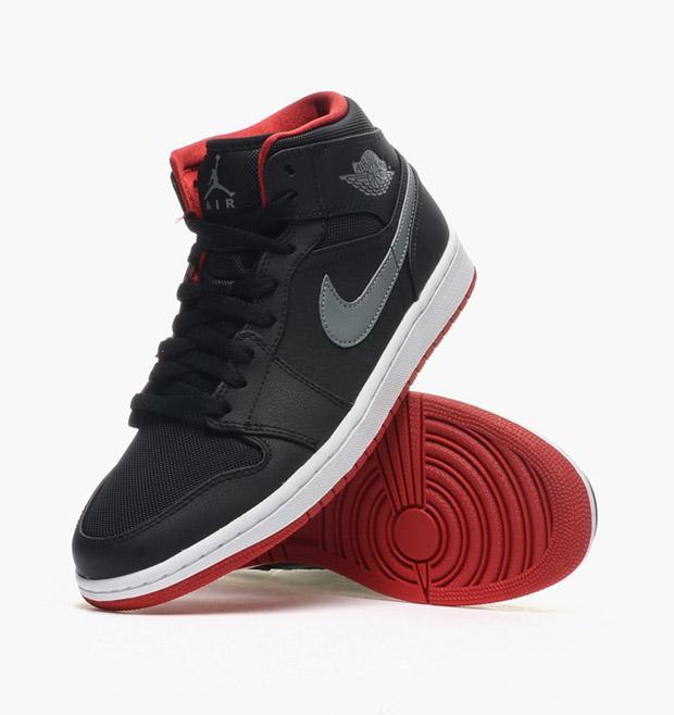 air jordan 1 mid black cool grey gym reds