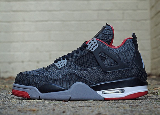 finest selection 6bc88 83747 air jordan iv 4 black python by jbf customs. year