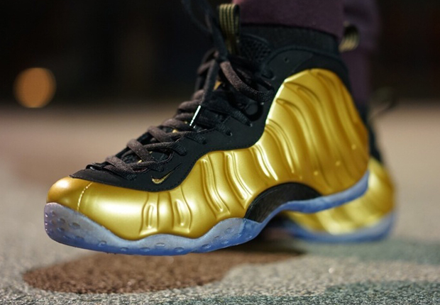 Gold Foamposite On Feet Images