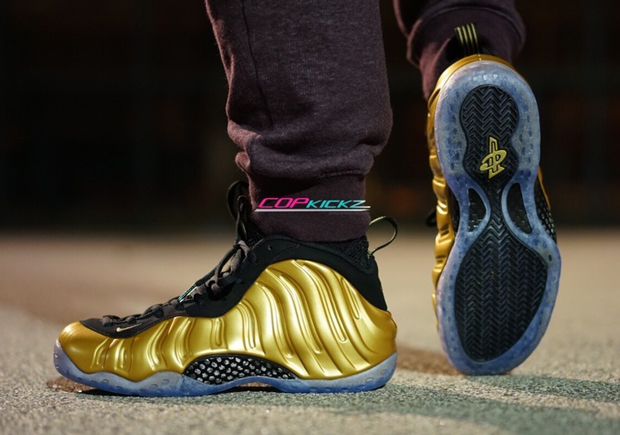 gold foamposite onfeet images