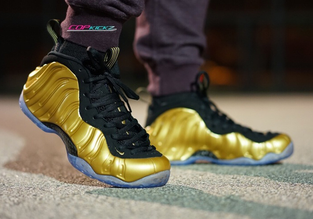 3860321012d Gold Foamposite On-Feet Images