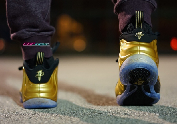 reputable site 83f13 cfa29 Gold Foamposite On-Feet Images