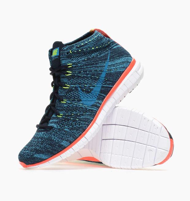Nike Free Flyknit Chukka Color: Dark Obsidian/Blue Lagoon-Volt-Bright  Crimson Style Code: 639700-401