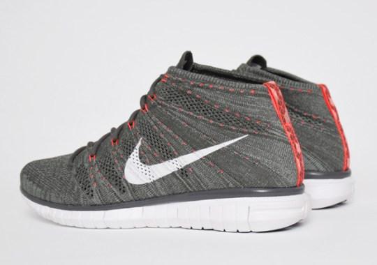Nike Free Flyknit Chukka – Midnight Fog – Bright Crimson