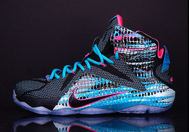 "3edc0c39ecc9 Nike LeBron 12 ""23 Chromosomes"" Color  Black Pink-Blue Lagoon Style Code   684593-006. Release Date  01 17 15. Price   200"