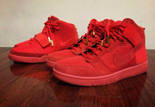 Comparing the Red October Nike Dunk High and Yeezy 2