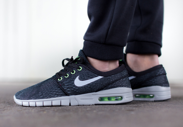 Good looks for the Nike SB Stefan Janoski Max keep right on coming with  this latest version in Black Wolf Grey-Flash Lime. The all-mesh upper  receives a ... 540c6c7bd