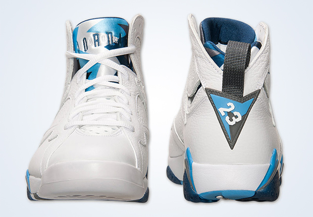 blue and white jordans 7