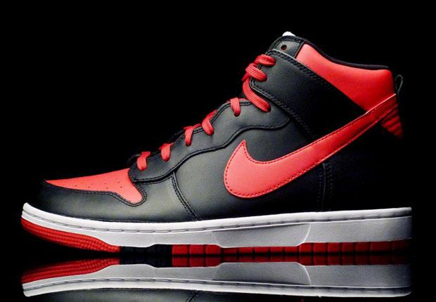 nike dunk high black red