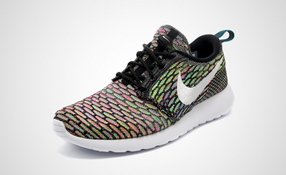 all black nike roshe run flyknit multicolor