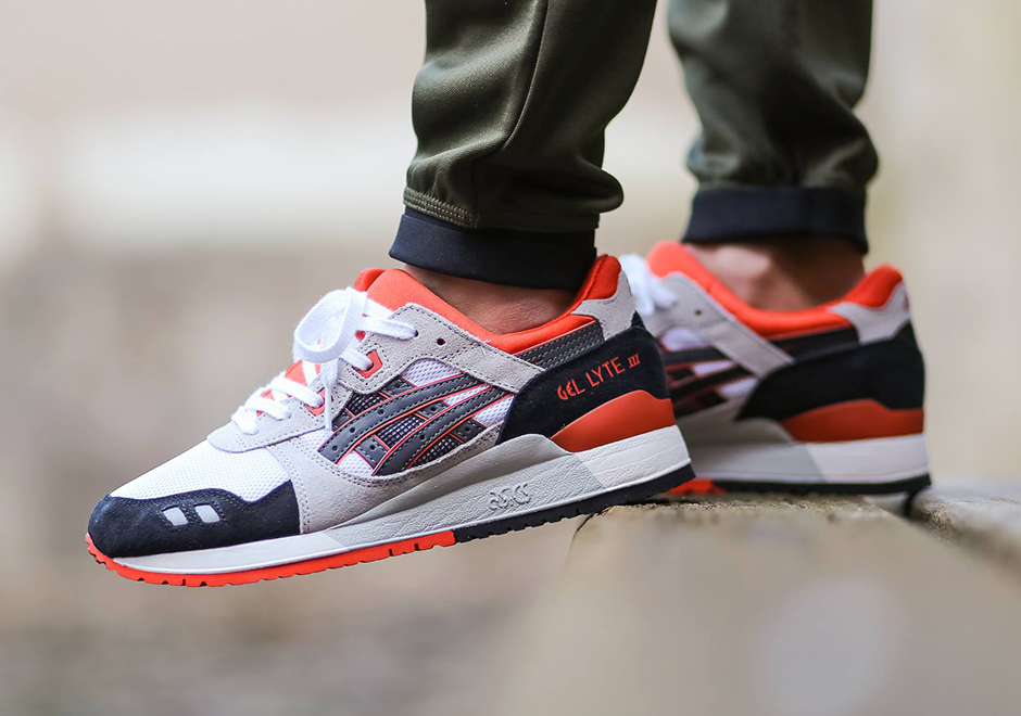 asics gel lyte iii white black orange