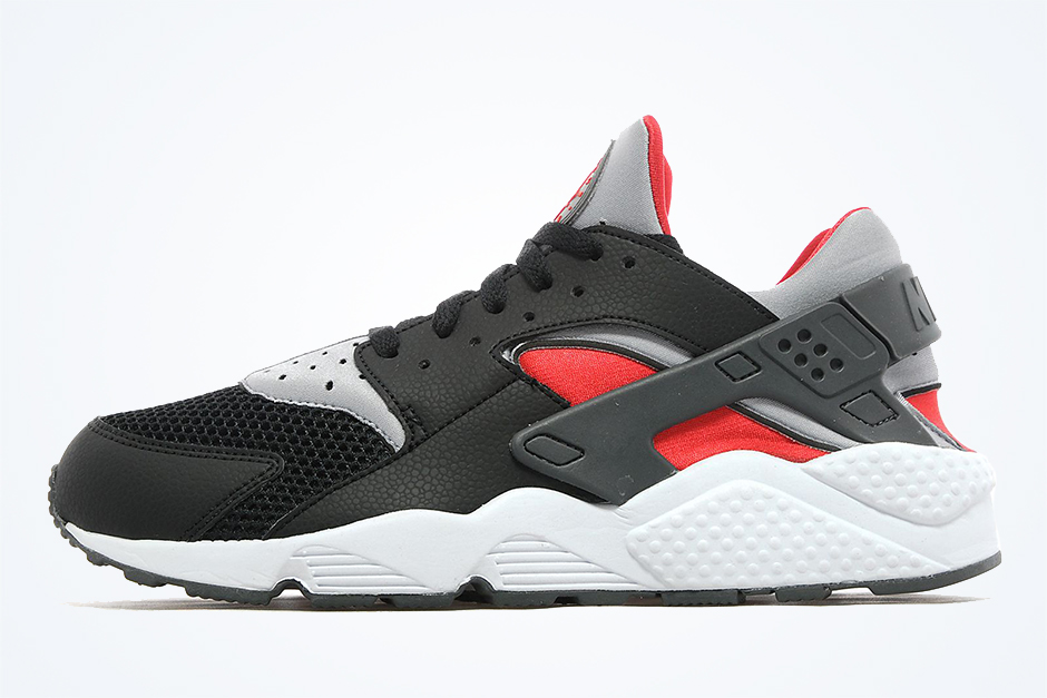 new product 361f0 abd22 Nike Air Huarache - Black - Wolf Grey - Red - SneakerNews.com