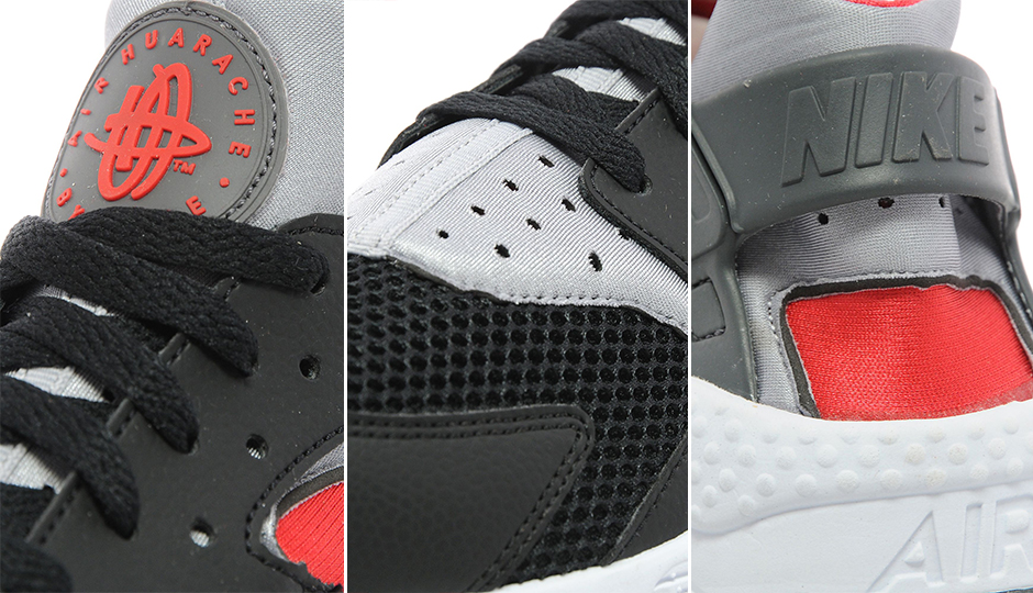 nike huarache gray and red