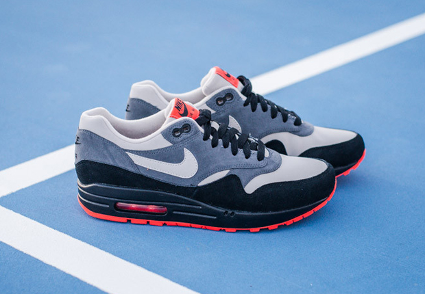 nike air max 1 leather – granite – black – hot red