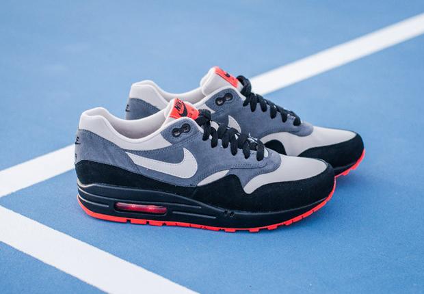 Nike air max 1 leather granite black hot red