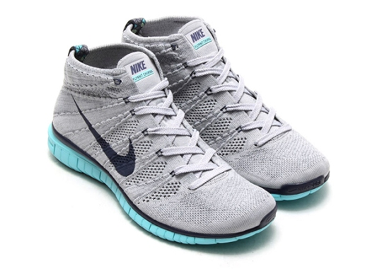Nike Free Flyknit Chukka – Wolf Grey – Midnight Navy – Light Aqua
