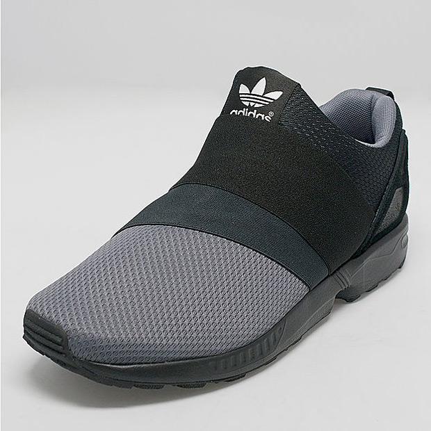 detailed look 94387 afac2 adidas ZX Flux Slip-On - Black - Grey - SneakerNews.com