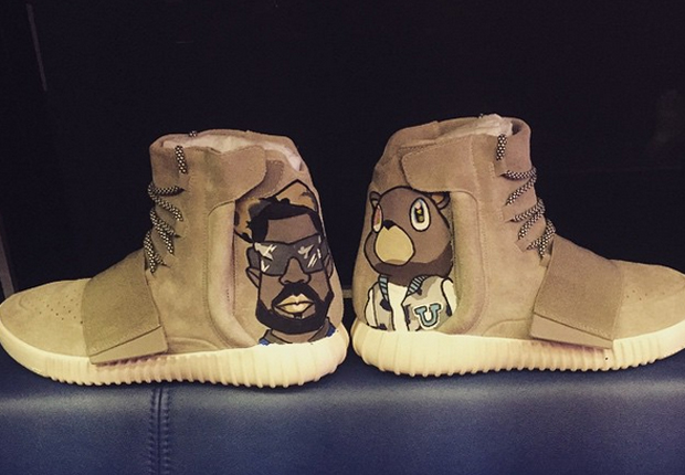 ed73a7699747 Chris Brown continues his custom game with a pair of the coveted Yeezy  Boost