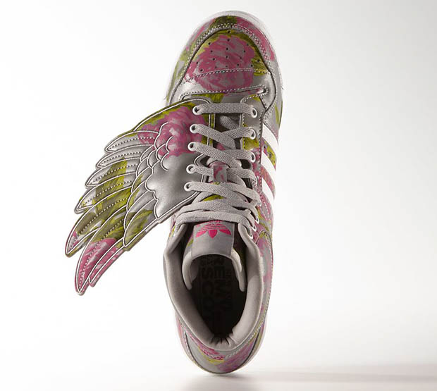 "a6da97afd297 Fly over to finer adidas Originals retailers to pick up a pair of the Jeremy  Scott x adidas JS Wings ""Reflective Floral"" now"