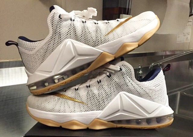 best service e4dbf b5f5e Nike LeBron 12 Low in White, Gold, and Gum