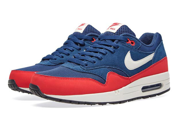 nike air max 1 midnight blue university red 5s