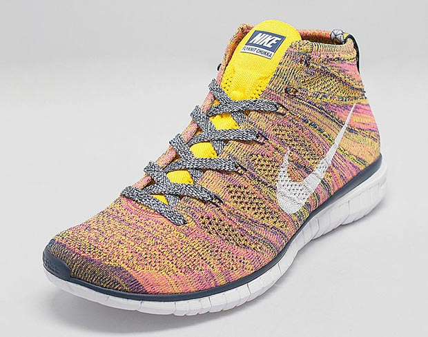 nike free flyknit chukka – midnight navy \/ true yellow brown