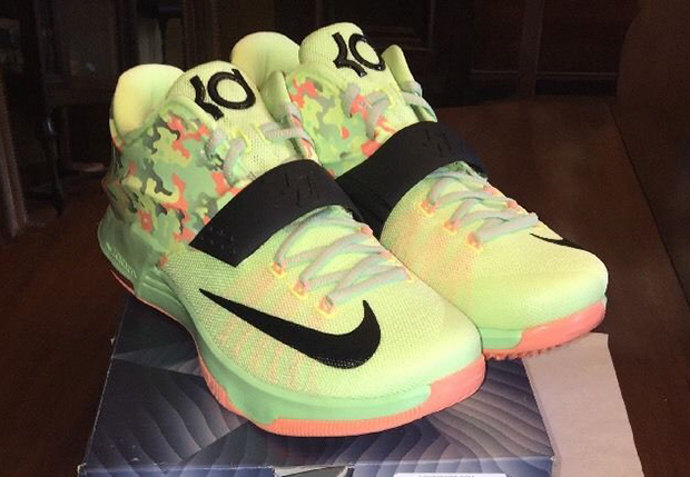 buy popular 959a6 6465b Nike KD 7. Color  Liquid Lime Vapor Green-Sunset Glow-Black Release Date   April 2nd, 2015. Price   150