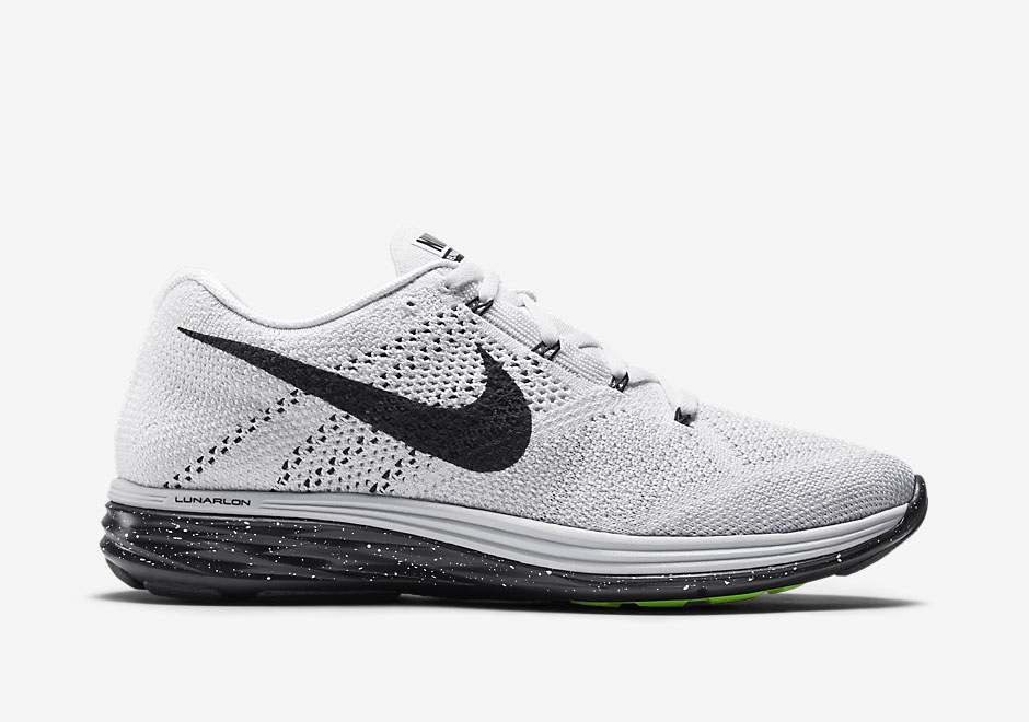 nike flyknit lunar 3 in classic white black. Black Bedroom Furniture Sets. Home Design Ideas