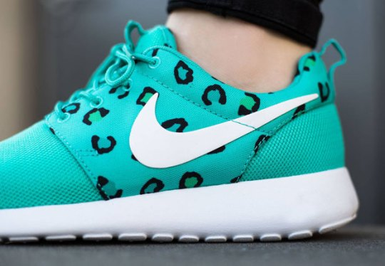 The Women's Nike Roshe Run in Leopard Print And Teal