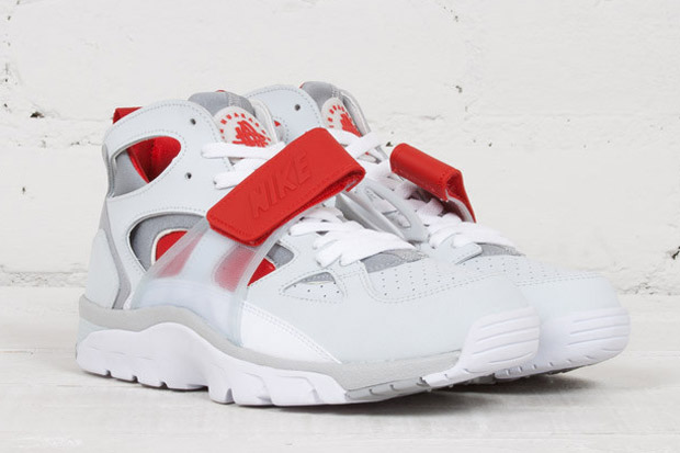 Nike Air Trainer Huarache Color  Pure Platinum Wolf Grey-University Red-White  Style Code  679083-017 56f00aff28d4
