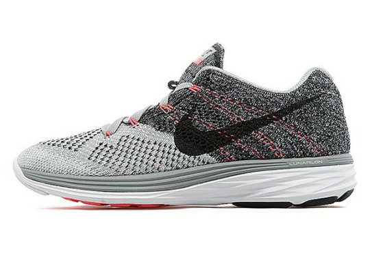 Nike Womens Flyknit Lunar 3 – Wolf Grey – White – Hot Lava