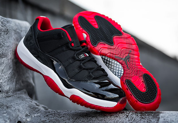 "Air Jordan 11 Low ""Bred"" Color: Black/University Red-White Style Code:  528895-012. Release Date: May 23rd, 2015. Price: $170"