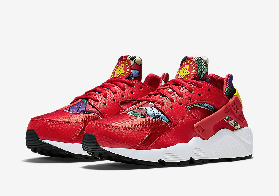 the best attitude cb867 dc7aa Hawaiian Floral Print Paired With Red on the Nike Air Huarache ...