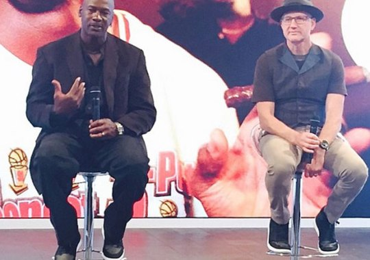 Michael Jordan and Tinker Hatfield in Air Jordan 1 MTM at Palais 23