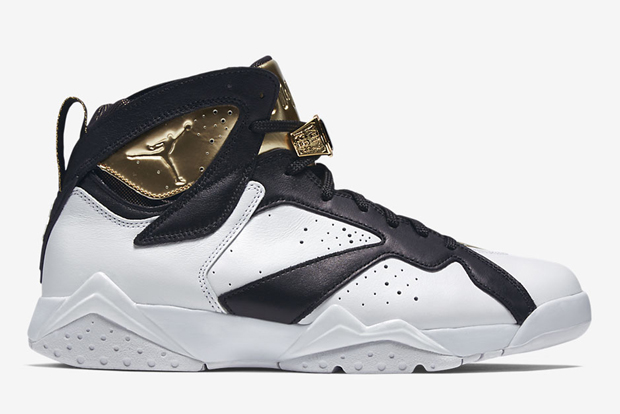 "Air Jordan 7 ""Champagne"" Color: White/Metallic Gold-Black Style Code:  725093-140. Release Date: 06/20/15. Price: $250"