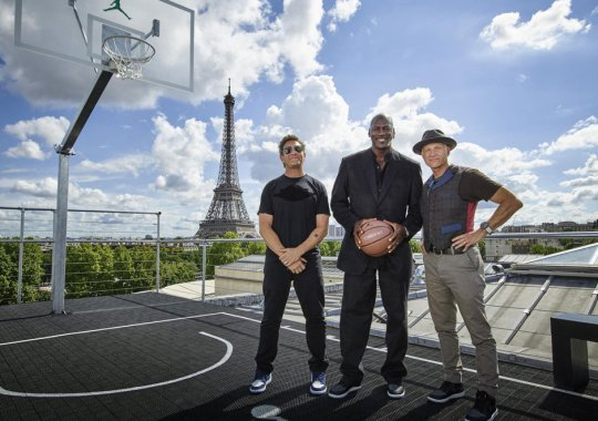 Michael Jordan, Tinker Hatfield, and Mark Smith in Paris For Jordan Brand Palais 23
